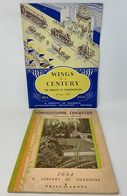 Worlds Fair 1934 Book Lot Of 2 Wings Of A Century Horticultural Chicago 18-1261B