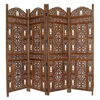 Handcrafted Wooden 4 Panel Room Divider Screen With Tiny Bells - Reversible