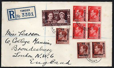 KEVIII & KGVI TANGIER MOROCCO AGENCIES 1937 Registered Cover to UK
