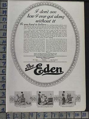 1919 Eden Wash Laundry Machine Clothes Room Home Decor Vintage Art Ad  Bv50
