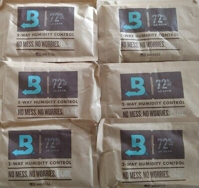 (6) Boveda 72% Packs 2-Way Humidor Control Large 60 gram Sealed Packets
