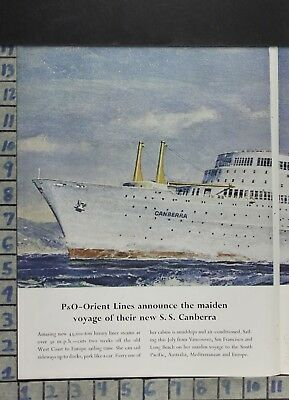 1961 P&o S.s. Canberra Orient Cruise Ship Pacific Travel X Large Vintage Ad Dh79