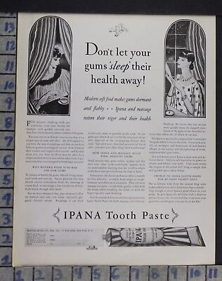 1928 Ipana Tooth Paste Deco Brush Dentist Bathroom Dental Health Vintage Ad Dn74