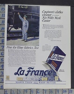1924 Household La France Laundry Soap Railroad Engineer Clean Vintage Ad Dm12