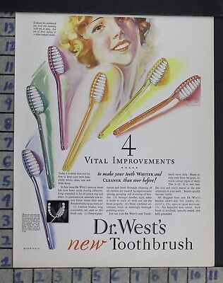 1928 Dentistry Medical Dr West Bristle Toothbrush Oral Care Vintage Ad Dm24