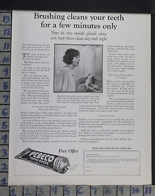 1923 Dentistry Medical Pebeco Tooth Paste Health Bathroom Vintage Ad Dm45