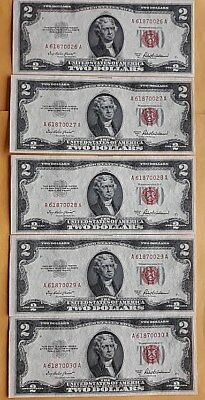 1953 A SERIES Two Dollar Note Red Seal $2 Bill Five Sequential