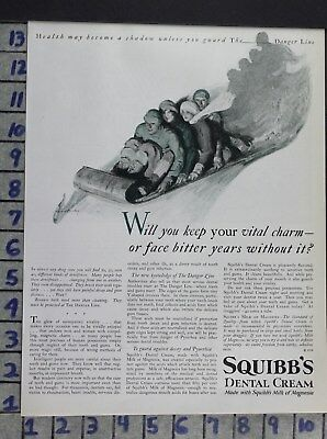 1926 Sport Winter Sled Dental Cream Squibbs Medical Health Vintage Ad Dv06