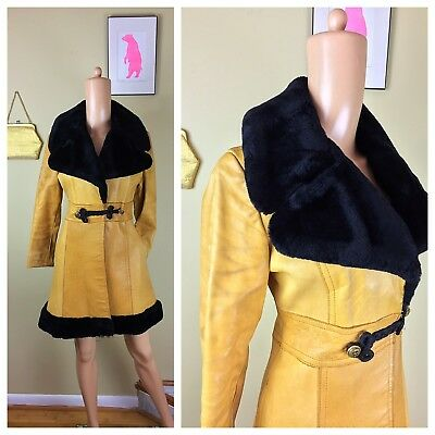 Vtg 70s Trench Spy Toggle Belted Burnt Tan Leather Faux Fur Trim Jacket Coat S M