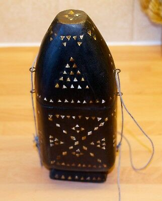 Vintage Wooden Indonesian Lime Container With Inlaid Mother of Pearl