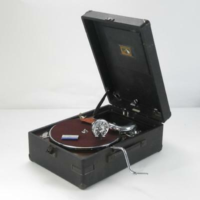 His Master's Voice Antique Portable Gramophone Phonograph in Working Condition