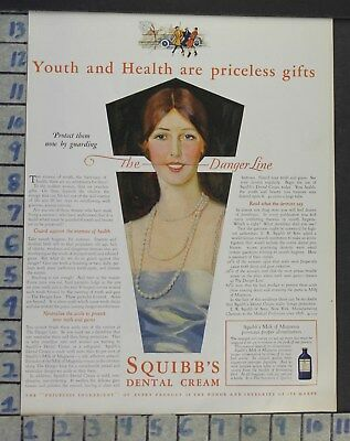 1928 Dental Medical Squibb's Cream Fashion Jewelry Design Vintage Ad Cj50