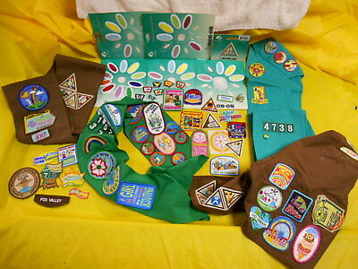 Large Lot Girl Scout Patches, Vest, Sashes, Daisy, Brownie, More, Great Lot!