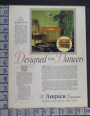 1927 Music Instrument Piano Keyboard Ampico Dancer Home Decor Vintage Ad Di84