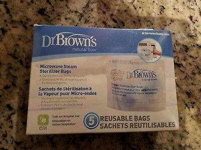 Baby Microwave Steam Sterilizer Bags Dr Browns bottle nipple 4 only Reusable Bag