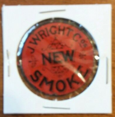 "Vintage  ""NEW SMOKE "" Tobacco Tag  J. WRIGHT Co. Both tabs intact ."