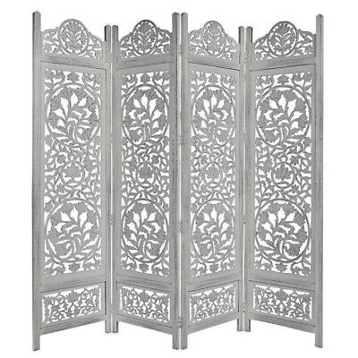 Handcrafted Wooden 4Panel Room Divider Screen Featuring Lotus Pattern Reversible