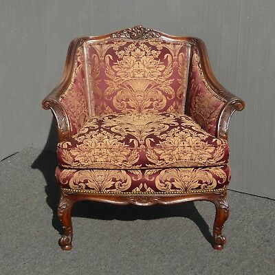 Vintage French Provincial Rococo Ornately Carved Wood Red Down Accent Chair AsIs