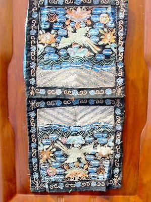 Antique Chinese Black Silk Pair of Rank Badges Golden Pheasant Embroidered