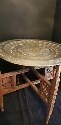 Vintage mid-century Moroccan ornate brass tray table folding carved base
