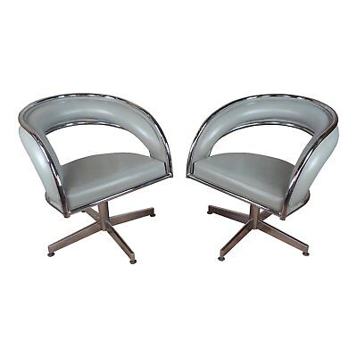 Mid Century Chrome & Leather Round office Chairs -a Pair