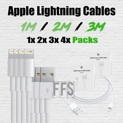 OEM iPhone Cables 1x 2x 3x 4x Pack 1m 2m 3m Charger Apple 6 7 Plus 8 X MFi lot