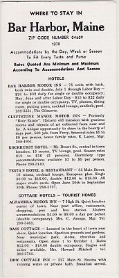 1970 Where To Stay In Bar Harbor Maine Brochure