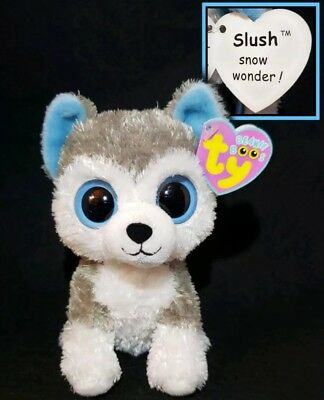 859ae641b7d Ty Beanie Boos Slush the Husky Dog Solid Eyes 1st Gen. Purple Tags