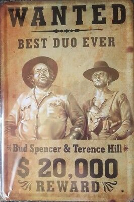"""Blechschild Bud Spencer Terence Hill """"WANTED BEST DUO EVER"""" 20x30 cm"""