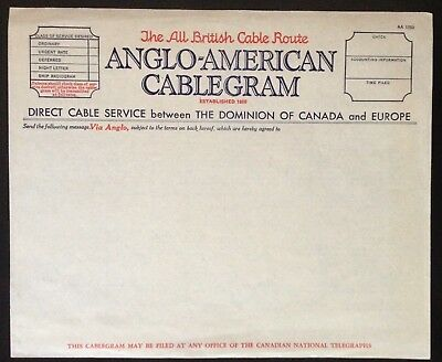 C.1940 Anglo-American All British Cablegram Blank Comm. Form.