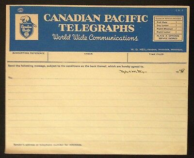 C.1948 Canadian Pacific Telegraphs Communication Form