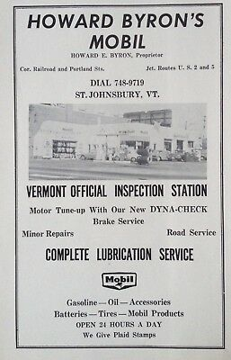 1966 Ad(H7)~Howard Bryon's Mobil Service Station. Railroad St.st. Johnsbury, Vt.