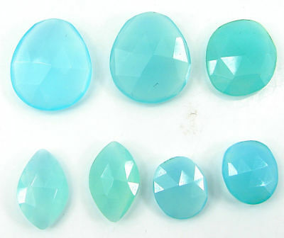 29.55 Ct Natural Blue Chalcedony Loose Gemstone Checker Cut Lot of 7 Pcs - 22727