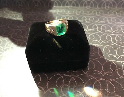 Vintage Estate Mens Mid Century 14K Emerald Cut Green Tourmaline Ring