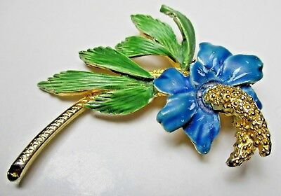 Vintage 1950s/60s Signed HOLLYWOOD Gold Tone Enamel Orchid / Lily Flower Brooch