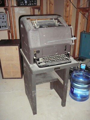 Vintage Bell Systems Teletype Machine - complete with stand
