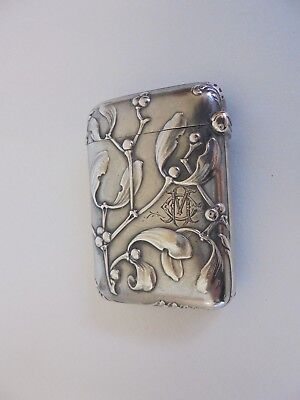 Antique Silver Art Nouveau Mistletoe Vesta Matchsafe Case
