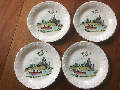 4 vtg  CARRIGALINE POTTERY Fisherman and castle Souvenir Gold Trim Pin Dishes