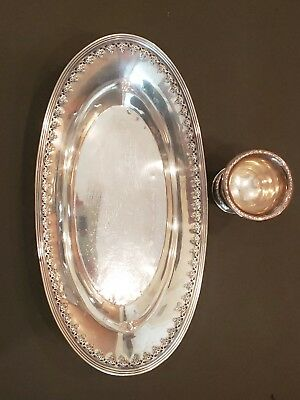 Vintage Oval Sterling Silver Bread Tray Cheese Plate & Cup 206 grams Signed