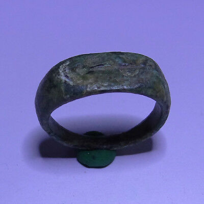 Greek Ancient Artifact Bronze Ring With Sea Fish