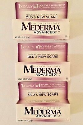 3 MEDERMA Advanced Scar Gels SEALED  0.70 oz each Expires 1/2020  Lot Of 3