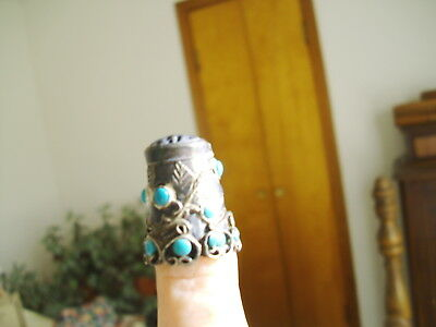 Vtg Decorative Silvertone Thimble With Small Turquoise Accents On It