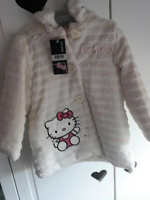 New Girls 18-24 Month Fluffy Faux Fur Coat Jacket Winter Clothes Hello Kitty