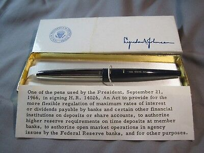 LBJ Signing Pen - Used by the President to sign H.R. 14026 Sept. 21, 1966 P.L 89