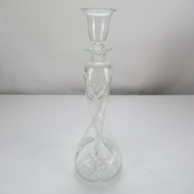 "DG Ebeltoft Handmade Glass Twist Decanter with Shot Glass Stopper - 12"" High"