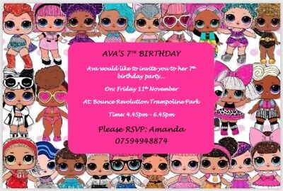 Lol Surprise Doll Birthday Party Invitation Personalised Packs Of 10