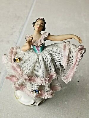 Antique German Dresden porcelain figurine Lady dancing
