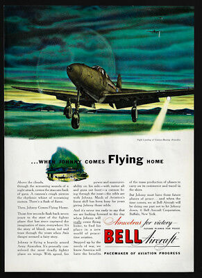 1942 Vintage Print Ad 40's WWII airplane BELL AIRCRAFT airacobra war art image