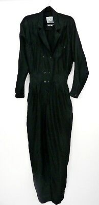 Vintage 80's Black Pure Silk Jumpsuit Front Button One Piece Blogger  8 36 S M