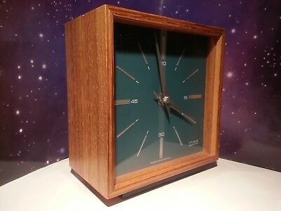 Smiths Quadrant Zebrano Battery Operated Mantel Clock 1974 Vintage Retro